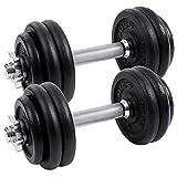 Songmics Set di Manubri Metallici in Ferro Fitness Palestra Pesi Bilanciere 30 kg (2 x 15 kg) SYL30T