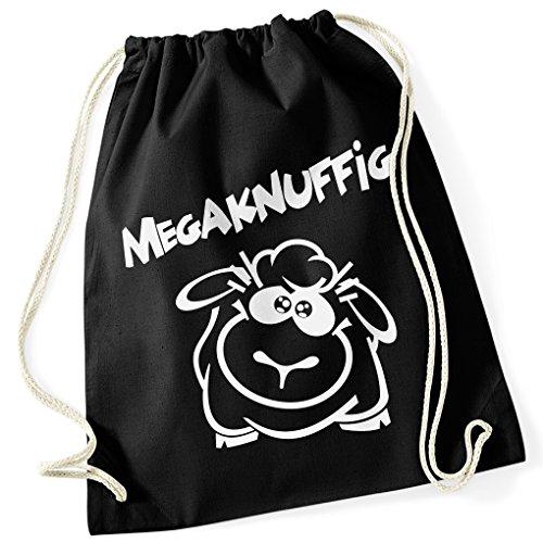 MEGAKNUFFIG / Süßes Schaf / Schwarzes Schaf / Memorial Edition / 100% Baumwoll Turnbeutel mit Aufdruck und Motiv / Unisize, Onesize, Unisex / Ideales Geschenk / Farben: Schwarz, Pink / (Grüne Kostüm Schaf)
