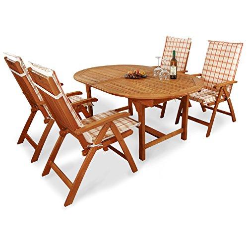indoba® IND-70068-BASE5 + IND-70410-AUHL - Serie Bali - Gartenmöbel Set 9-teilig aus Holz FSC zertifiziert - 4 klappbare Gartenstühle + ausziehbarer Gartentisch + 4 Comfort Auflagen Karo Orange