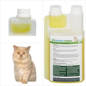 Produit Nettoyant et Eliminateur d'odeur Bio pour Chats Ecosharkz Animal - Spray désodorisant anti urine pour intérieurs avec chat et litière - Concentré de 500ml - jusqu'à 25L de solution nettoyante