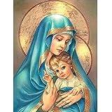 Binggong 5D Stickerei Gemälde Strass eingefügt DIY Diamant Malerei Kreuzstich Gott Jungfrau Maria Jesus Fresko Religiöse Malerei (20cm*25cm, E)