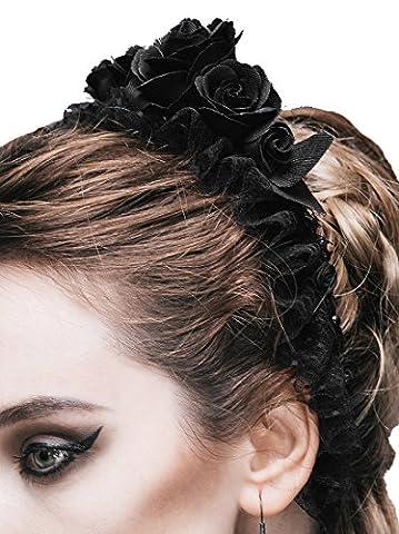 Couronne de fleurs roses noires elastique gothique elegant romantique aristocrate