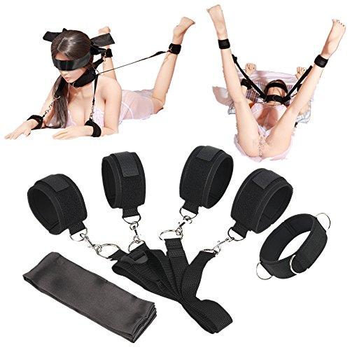 Proxoxo SM Bondage Set BDSM Fesseln SM Sexspielzeug Männer Sex Werkzeuge Betten Fesseln mit Handschellen Augenmaske für Paar und Sex-Spiele