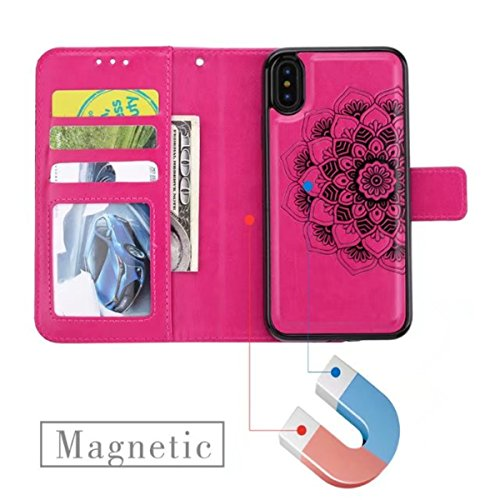 iPhone X Hülle, iPhone 10 Brieftasche, Lifetrut Premium Mandala Emboss PU Leder 2 in 1 Wallet Flip Folio Case Magnetische abnehmbare Rückenabdeckung & Handschlaufe für iPhone X / iPhone 10 [schwarz] E205-Rose
