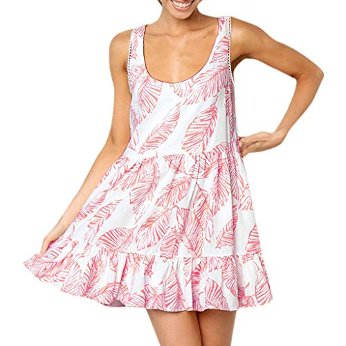 nt Vintage Boho Kleid Frauen Blätter Schulterfrei Ärmelloses Mini Prinzessin Kleid Für Strandparty Flauschigen Lose Einbau Teenage Kleid ()