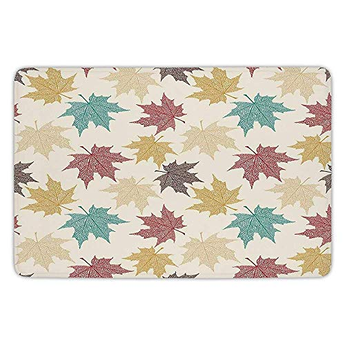 Burgundy Soft-vinyl (XIAOYI Bathroom Bath Rug Kitchen Floor Mat Carpet,Leaves,Pattern of Colored Maple Leaves Seasonal Nature Decorating Artwork Print,Burgundy Teal Beige,Flannel Microfiber Non-Slip Soft Absorbent)