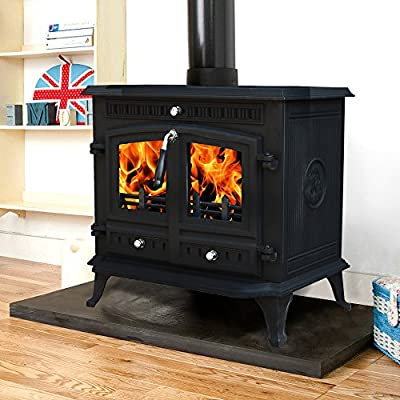 "Lincsfire Branston 12KW Type B Cast Iron Log Burner MultiFuel WoodBurning Stove Clean Burn WoodBurner Woodburning Fireplace + One Free 6"" Flue Pipe"