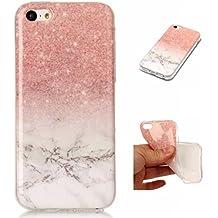 iPhone 5C Funda , OUJD iPhone 5C Teléfono Caso Cubrir, Diseño de Mármol Ultrafina Rigida Anti-rasguñe Anti Choques Piel Protectora Shell TPU Gel Silicona para iPhone 5C - Rosa dorado blanco