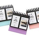 Zhi jin mini 64tasche album fotografico del desktop cornici per Fujifilm INSTAX Polaroid taglia spirale album foto a forma di libro regalo Light Blue