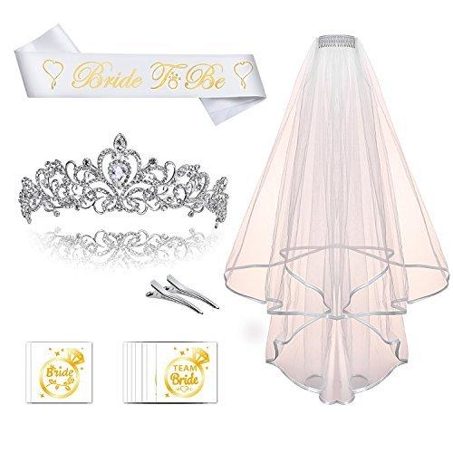 schärpe und krone Tiara Kit hochzeit krone mit Schleier und Team Braut Tattoo für Hochzeit Braut Dusche dekoration (Bachelorette Tiara Und Schärpe)