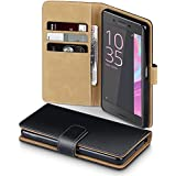 Sony Xperia X Case, Terrapin Handy Leder Brieftasche Case Hülle mit Kartenfächer für Sony Xperia X Hülle Schwarz mit Hellbraun Interior