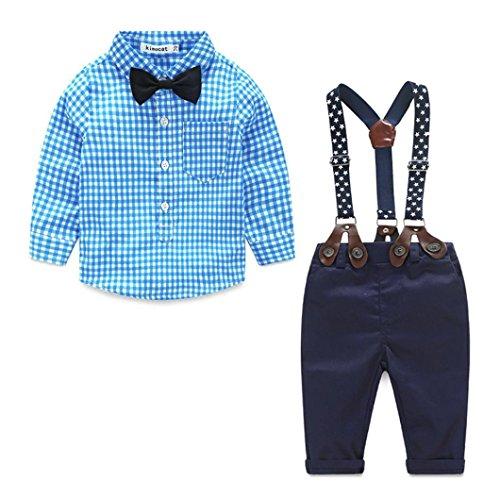Bekleidung Longra 2pcs Kleinkind Baby Jungen Gentleman Kleidung Set Langarm Rasterdruck Bogen Plaid Hemd+ Hosen Overalls Coole Neugeborene Babykleidung (0-24 Monate) (70CM 6Monate, Blue)