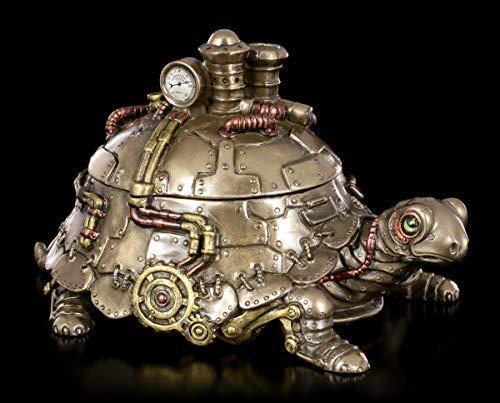 Unbekannt Steampunk Schildkröte Schmuckkästchen mit Deckel   Fantasy Schmuck-Schatulle, bronziert und coloriert