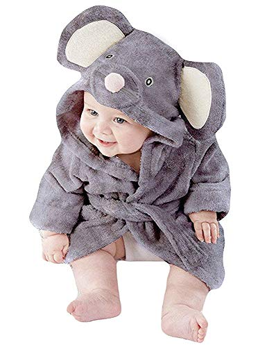 Boys Bathrobes Unisex Baby Girls Hooded Dressing Gown Fluffy Flannel Cotton Pyjamas Toddler Mouse Animal Printed Nightgown for Kids Age 1-2 Years Grey