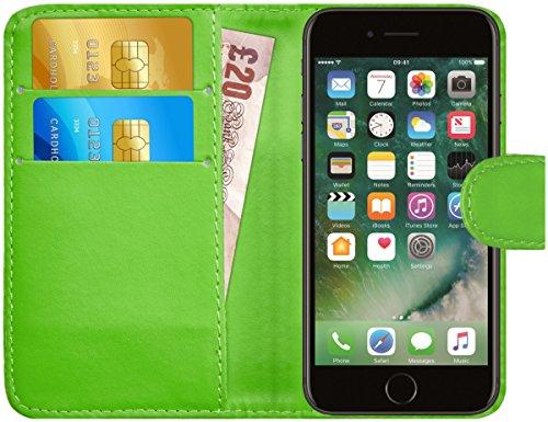 iPhone 7 / iPhone 8 Hülle Leder Klapphülle mit Kartenfach G-Shield Schutzhülle Tasche Flip Case Cover Etui Handyhülle für Apple iPhone 7 / iPhone 8 mit Displayschutzfolie und Stylus-Stift - Grün (Stylus-grün)