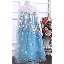 La Señorita Elsa Frozen Vestido azul de Princesa para niña disfraz + Collar Frozen GRATUITO (9-10 años - 150, azul)