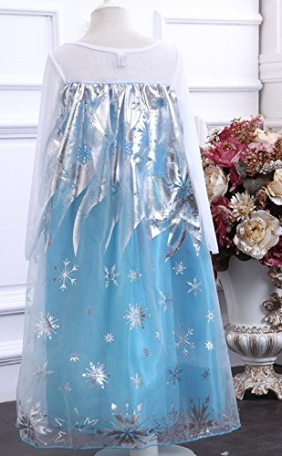 Imagen de la señorita elsa frozen vestido azul de princesa para niña disfraz + collar frozen gratuito 9 10 años  150, azul  alternativa