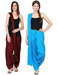 Fashion Store Women Cotton Patiala Salwar With Dupatta Combo Of 2(Free Size, Brown & Sky)