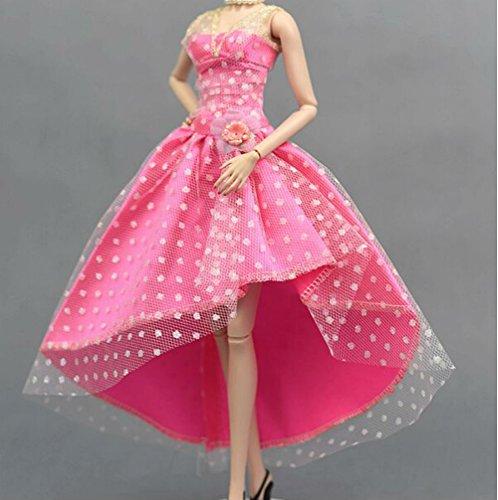 Mode magnifique robe de soirée à la main pour la poupée Barbie robes / vêtements /robe de poupée (rouge3)
