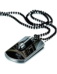 JewelryWe Unisex Dog Tag Style Military Plate Necklace, Name Personalised Engraved, Black and Silver