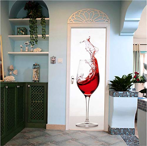 3D Rotwein Glas Tasse PVC Tür Aufkleber Aufkleber DIY Vinyl Nachahmung 3D Tür Paste Wandmalerei Kunst Wasserdicht Klebstoff Aufkleber Home Decor 77 cm * 200 cm