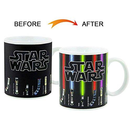 Pawaca Farbwechsel Becher, Einhorn Star Wars Tasse, Keramik Tasse Weiss mit Thermoeffekt 330ml - Tassen/Becher / Pott für Kaffee, Tee und Mehr