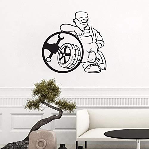 Servizio di pneumatici Adesivo da parete Adesivo da parete Adesivo per auto Servizio di riparazione auto Decorazione per auto Poster da parete in vinile Design 57x54cm