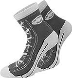 normani 4 Paar Baumwoll Socken im Schuh - Design Farbe Grau Größe 39/42