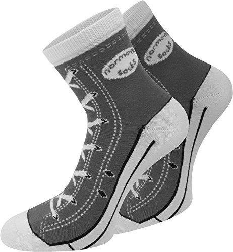 Preisvergleich Produktbild normani 4 Paar Baumwoll Socken im Schuh - Design Farbe Grau Größe 35 / 38