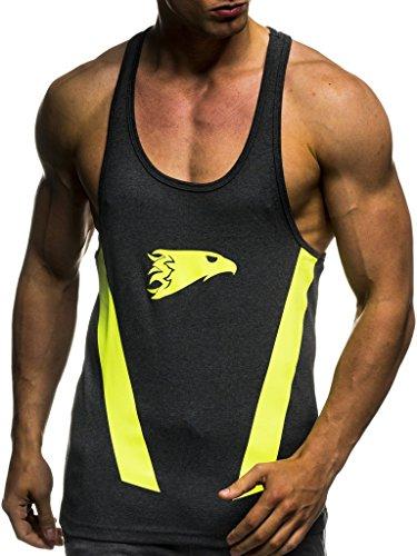 LEIF NELSON LN06286 Camiseta de la Camisa Entrenamiento de la Aptitud de Formación Stringer, Gym Hombres; Talla XL,