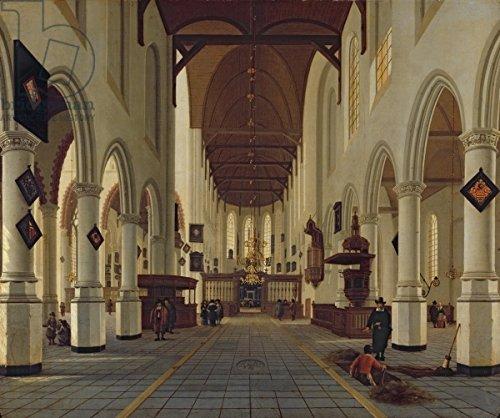 "Alu-Dibond-Bild 120 x 100 cm: ""Interior of the Oude Kerk, Delft, c.1660-70 (oil on canvas)"", Bild auf Alu-Dibond"