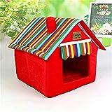 elvnx Abnehmbare Bezug, Hundebett für kleine und mittelgroße Hunde, rot, 36x36x39cm