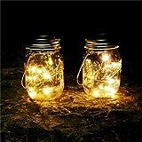 goodjinHH Solar Mason Jar Licht 6 Pack 20 LED Wasserdicht Solar Glas Einmachglas warmweiß Garten Hängeleuchten für Party, Weihnachten, Hochzeit (A)