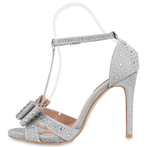 Damen Sandaletten Strass High Heels Party Schuhe Metallic Glitze Brautschuhe Abschlussball Hochzeit Silber Nieten