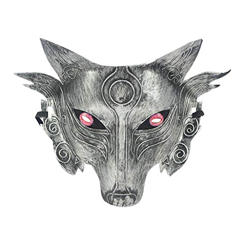 Wolf Womens Kostüm - Lazzboy Cosplay Wolf Costume Mask Full Face for Men Women Fuchs Maske Halbes Gesicht Maskerade Halloween Party Animal Kostüm Dekorative(A)