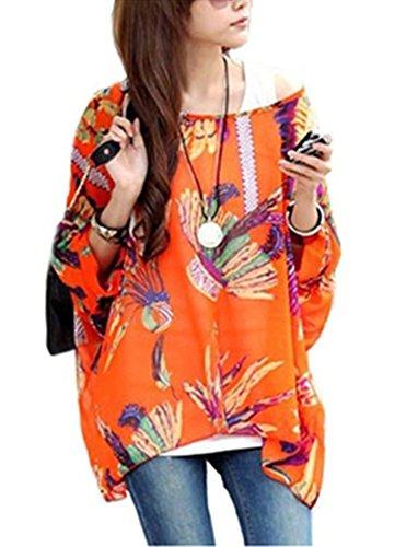 D-Trend Orange Federn Muster-Unkonventionellen Stil Kleidung T-Shirt Fledermaus Batwing Damebluse (Flügel Feder Exotische)