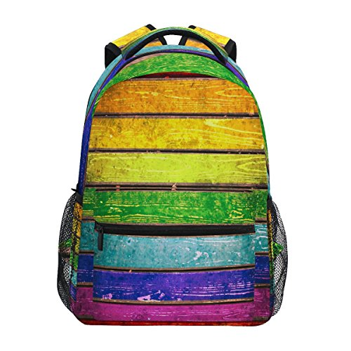 ZZKKO Mochilas de estilo vintage, diseño de rayas arcoíris