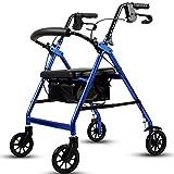 Giow Passeggino per Anziani, Carrello con Sedile, Carrello in Alluminio Leggero, Stabile E Resistente, Regolabile,Blue