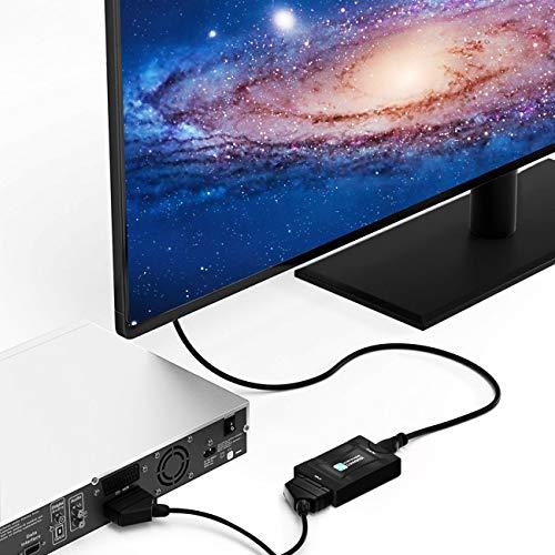 510n27dA6PL - SCART a HDMI Convertidor,PORTHOLIC Euroconector a HDMI Adaptador 1080P SCART 2 HDMI Adaptador Entrada Scart Salida HDMI para HDTV,DVD BLU-Ray,Monitor,Proyector,STB,VHS,PS1,PS2,Xbox,Wii