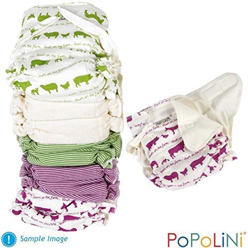 Popolini UltraFit Rainbow - Set completo di pannolini interlock organici, 3-15 kg, colori assortiti