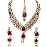 I Jewels Traditional Gold Plated Kundan Necklace Set for Women (IJ315R)