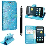 Funda para Alcatel One Touch Pop D5 5038D , Kamal Star® Funda Cuero PU Billetera Folio Carcasa, [Stylus Libre] Piel Case Cover con Soporte Plegable para Alcatel One Touch Pop D5 5038D (Rose Sky Blue Diamond Book)