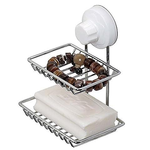 Doppelte Schichten Edelstahl Seifenschale Halter Aufbewahrung Organizer Rack Box mit kraftvoller Saugnapf Wand montiert für Dusche Badezimmer Badewanne und Küche Spüle