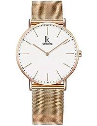 Alienwork IK Quarz Armbanduhr elegant Uhr Damen Uhren modisch Zeitloses Design Metall weiss rose gold U04813G-03