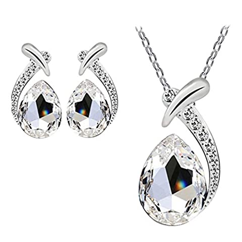 LHWY Women's Elegant Crystal Pendant Silver Plated Chain Necklace Stud Earring Jewelry Set for Girls (White)