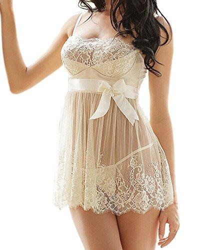 Rzs donna lace lingerie esotico pizzo capestro bianco prospettiva pigiama [grande size] [2 pezzi] fionda chemise con g-string(it 48/eu 46, bianco)