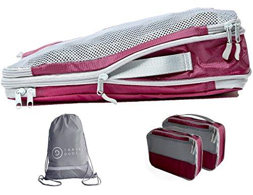 Packwürfel Set mit Kompression | Packing Cubes | Packtaschen Set & Gepäck Organizer für Rucksack, Koffer, Handgepäck & Co. | Extra leicht | Travel Dude (Weinrot, 4-teilig)