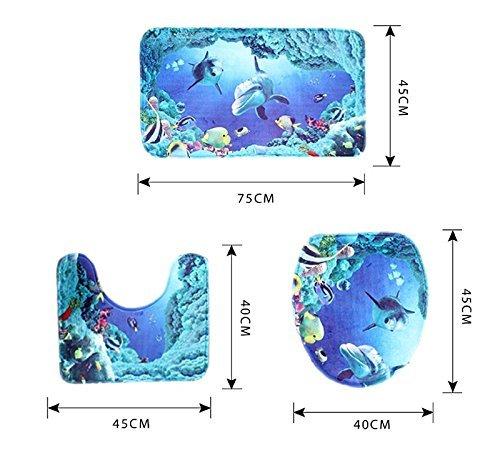 Preisvergleich Produktbild zedtom Flanell 3-teiliges Badezimmer Teppich Ständer Deckel WC-Deckelbezug Badematte Set