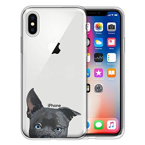 Fincibo Schutzhülle für Apple iPhone X 5,8 Zoll (5,8 Zoll), transparentes TPU-Silikon, weiches Gel für Apple iPhone X 5,8 Zoll, schwarzes Spielzeug Pudel, Silver American Pit Bull Puppy Dog - Pit Spielzeug Bull