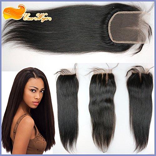 Eseewigs Hétéro Dentelle Fermeture Cheveux Haut Fermeture postiches pour les femmes 4x4 inch Swiss Lace Natural Color